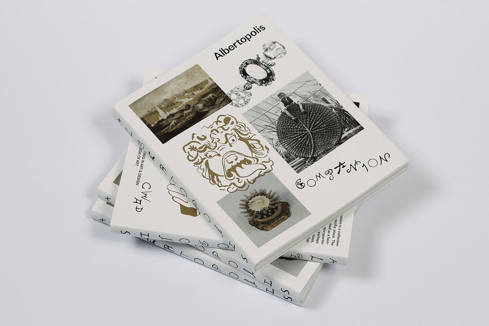 A pile of 4 books with a white cover that reads 'Albertopolis Companion', with 5 images: 1. an illustration of a gargoyle head, 2. a piece of jewellery, 3. a painted landscape, 4. a man posing with a lily pad larger than himself and 5. a replica of a sea creature.